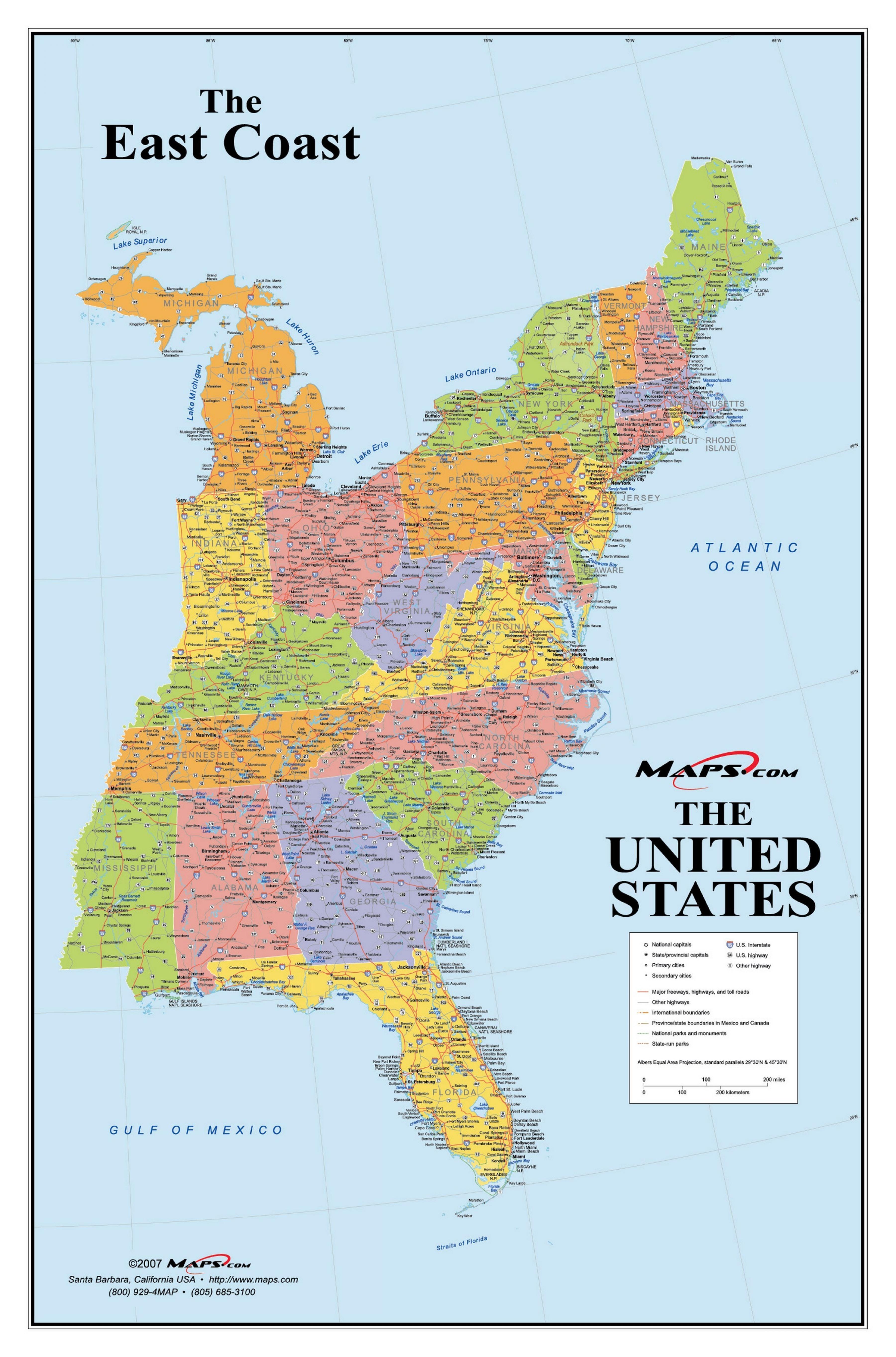 Carte Amerique Cote Est.Etats Unis De La Cote Est De La Carte Carte De La Cote Est