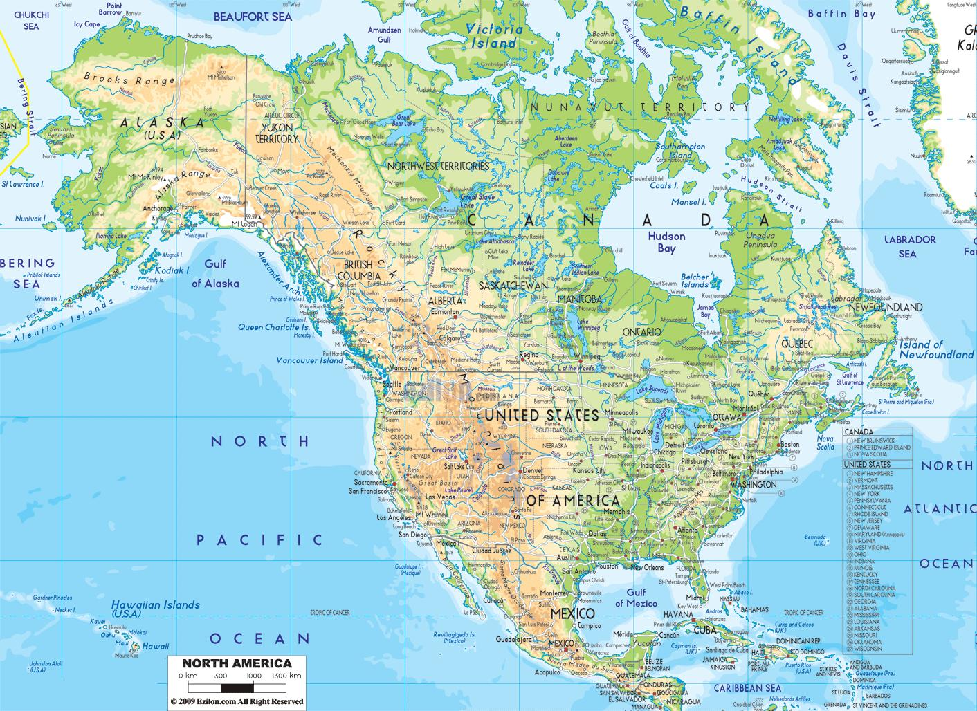 Carte Amerique Physique.Carte Physique De L Amerique Amerique Du Physique De La