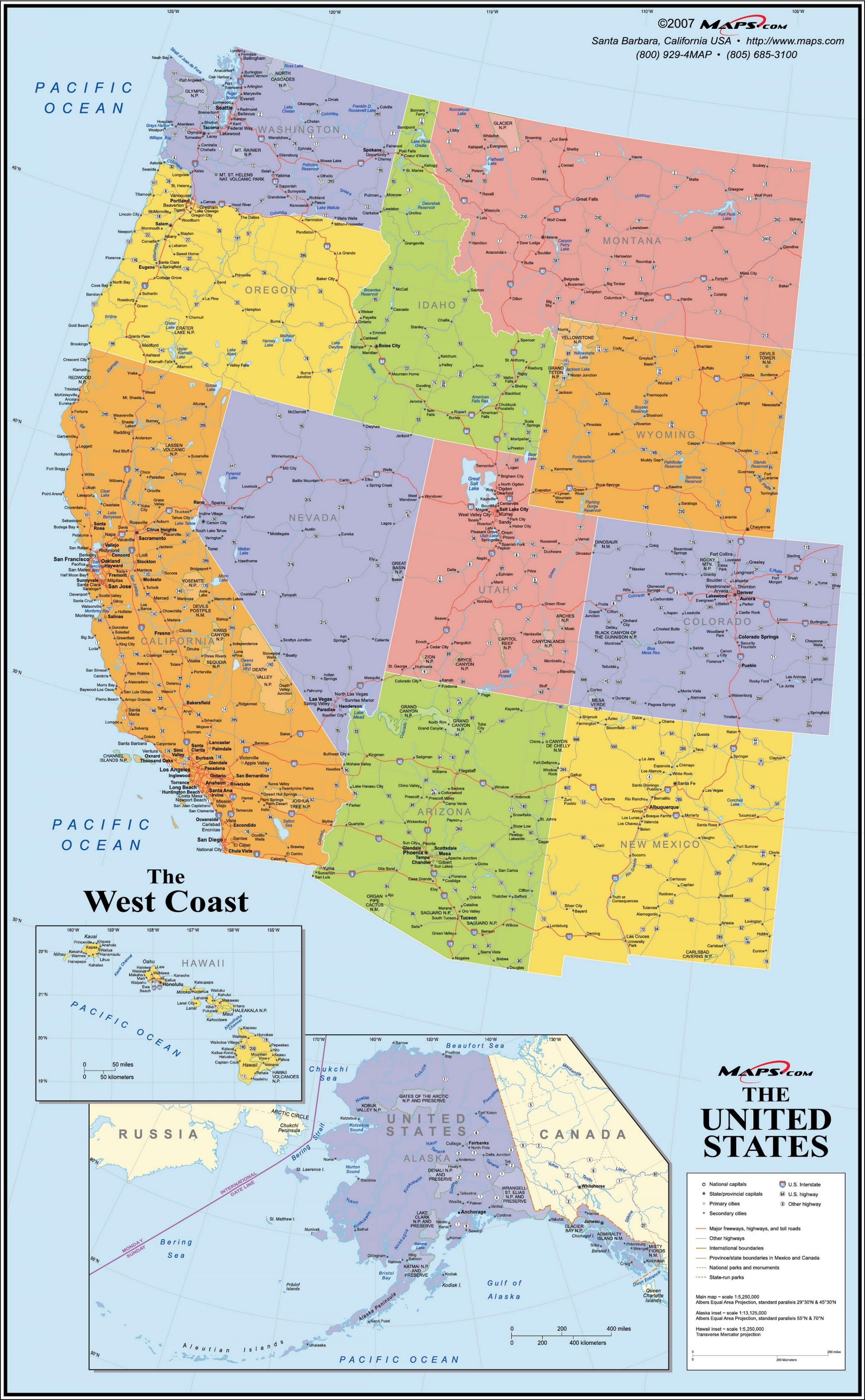 De La Côte Ouest Carte Des états Unis Les Etats Unis De La