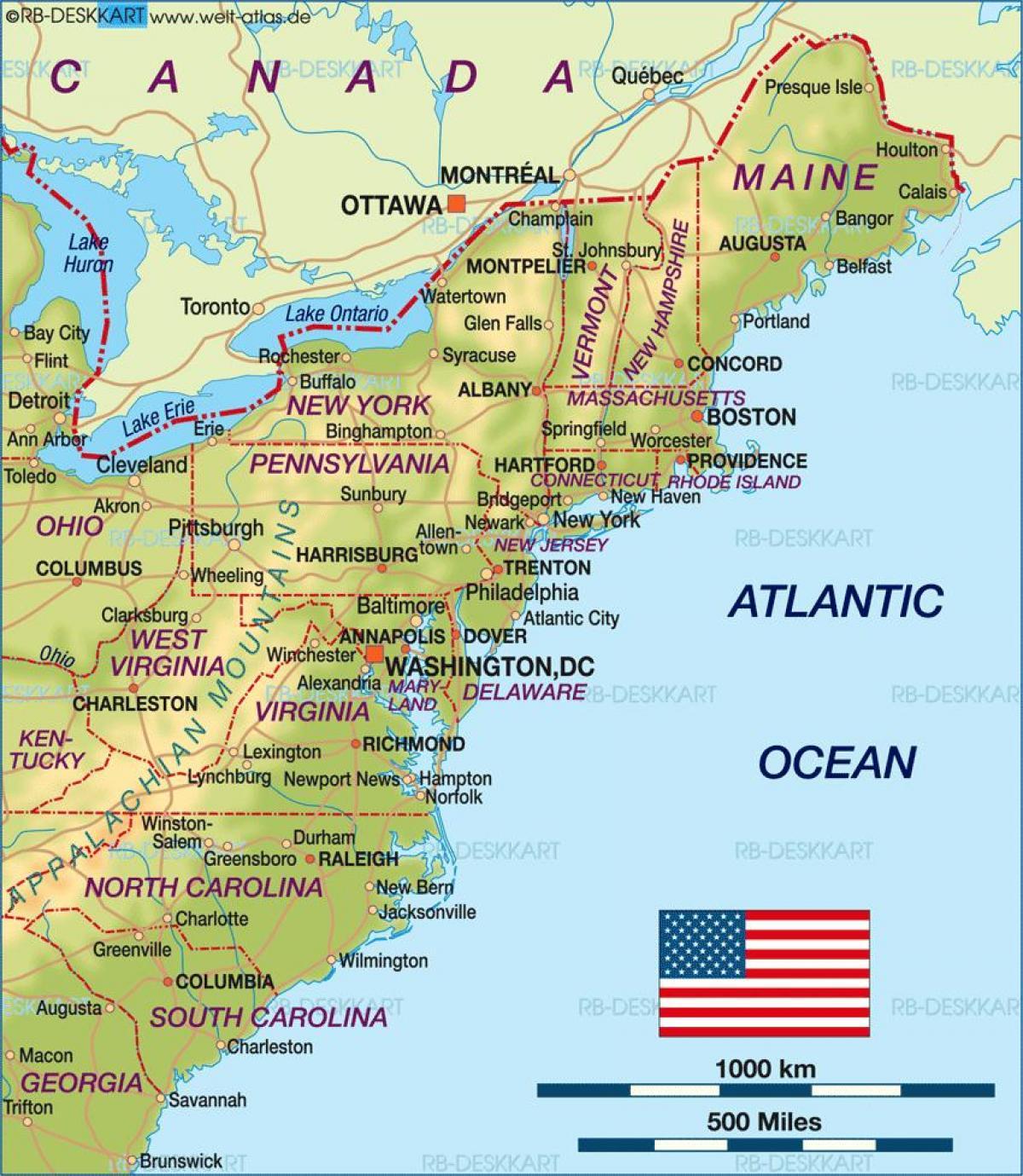 Carte Etats Unis Cote Est.La Cote Est Carte Des Etats Unis Carte Des Etats Unis De