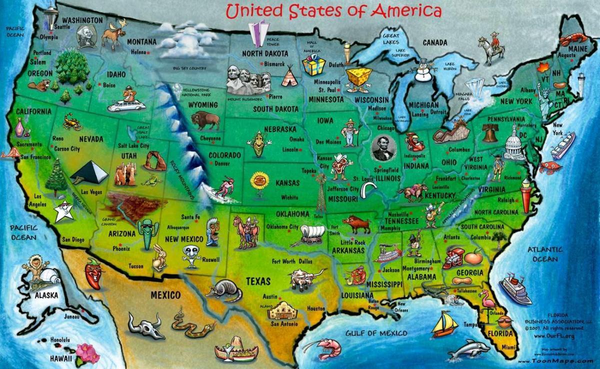 Usa Carte Touristique La Carte Touristique Des Etats Unis