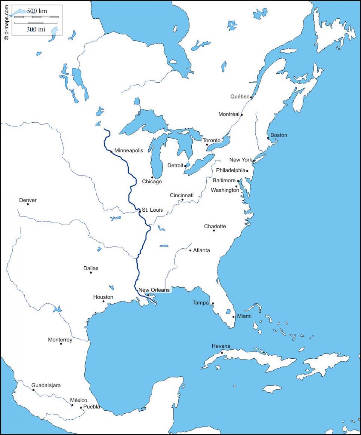 Carte Amerique Cote Est.La Cote Est De L Amerique Du Carte Americaine De La Cote